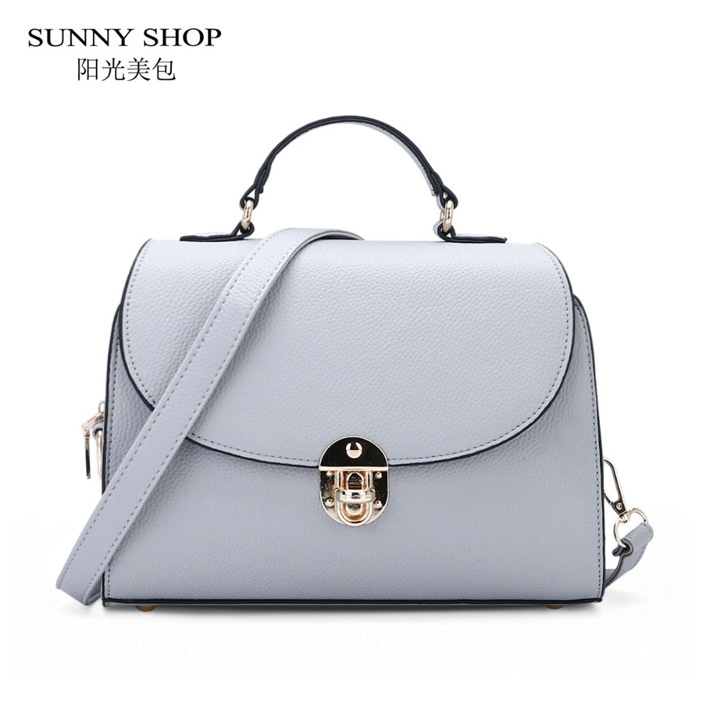 SUNNY SHOP Candy Color Fresh Girls Messenger Bag Flap Over Women Shoulder Bags Small PU Leather Handbags With Turn Lock Closure