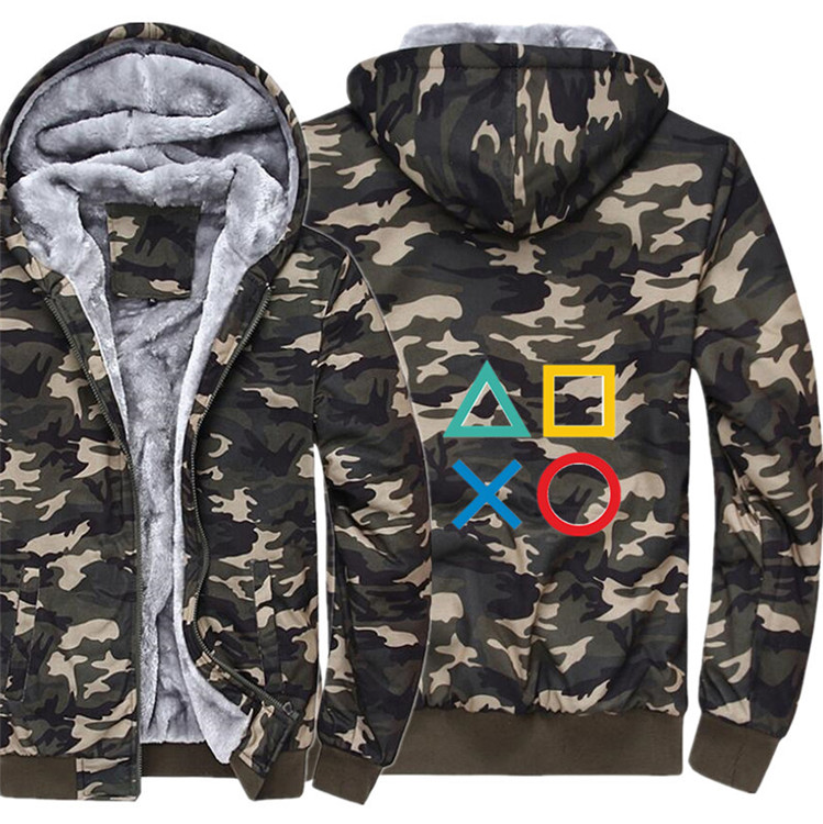 Ps4 Hoodie Winter Casual Super Warm Camouflage Coat Thicken Warm Zipper Hooded Casual Sweatshirts