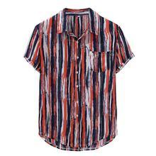 Летние мужские полосатые Свободные Лоскутные рубашки с нагрудным карманом и отложным воротником с коротким рукавом размера плюс Гавайская стильная блузка