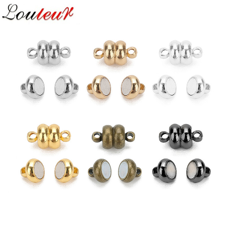 LOULEUR 10pcs/lot Round Copper Strong Magnetic Clasps For 7mm Leather Cord Bracelets Connectors for DIY Jewelry Making DIY Jewelry Making For Beginner Necklace Diy Jewelry Making 6 Color Can Choose