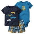Roupas de verão do bebê roupas conjunto completo de roupas calças do bebê das crianças 3 roupas de bebê arnês menina ternos de algodão dress menino