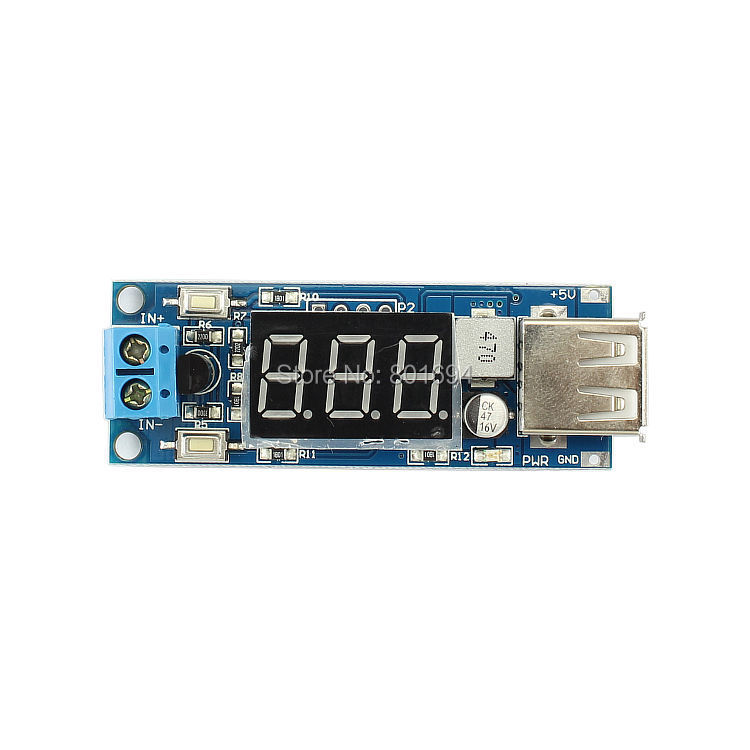 10Pcs/Lot <font><b>DC</b></font>-<font><b>DC</b></font> 4.5-40V To 5V <font><b>2A</b></font> Buck Module USB Charger&LED Voltmeter Step-down ConverterHigh Efficiency And Low Ripple. image