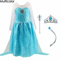 Crown Elsa Dress Girls Dress Costumes Kids Cosplay Party Dress Princess Anna Dresses Fantasia Elza Vestidos