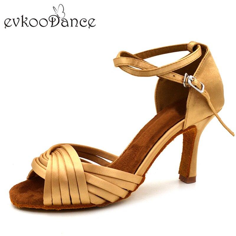 Comfortable Khaki Satin Latin Dance Shoes 8.3 cm Heel Height Size US 4-12 Woman Dancing Shoes Latin Shoes NL143 рюкзак век егерь 1522618 khaki