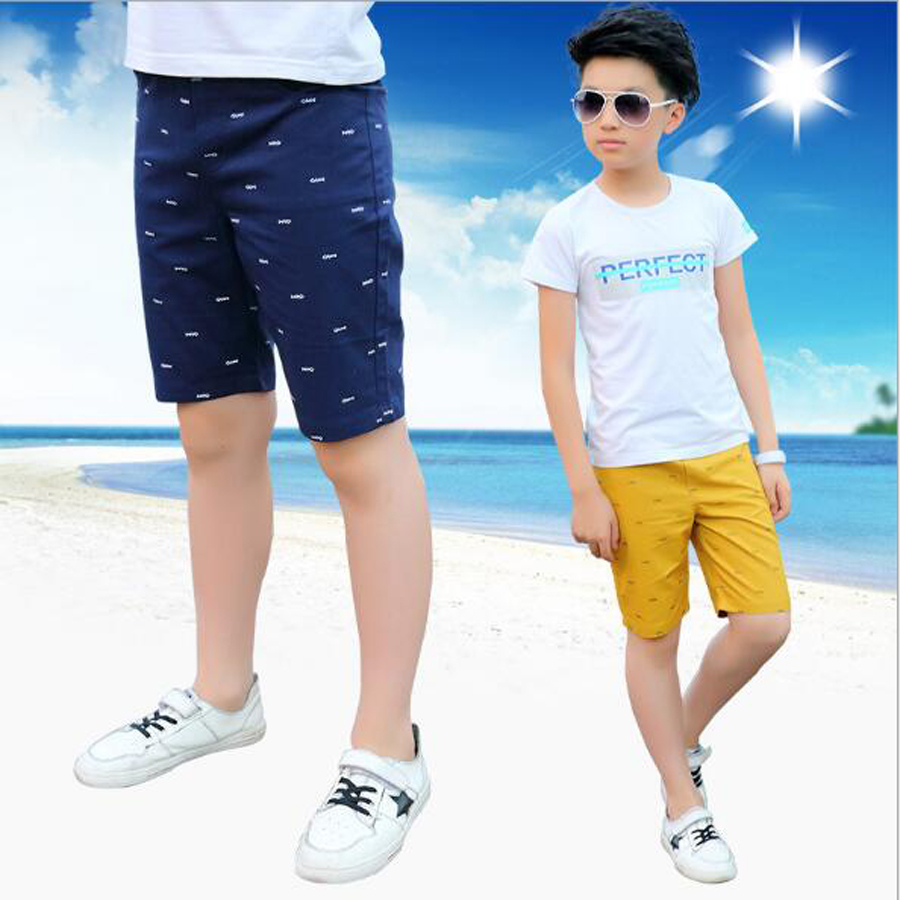 Boys casual pants boys cotton knee length shorts kids beach shorts child sports pants for 4-15 Y summer style trousers for boys