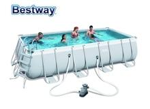 122 Bestway 274x549x56465 см прямоугольный бассейн набор 18'x9'x48 «стальная рама над землей бассейн Комплект фильтр, лестница, коврик, крышка