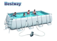56465 Bestway 549x274x122cm Rectangular Pool Set 18'x9'x48 Steel Frame Above Ground Swimming Pool Kit Filter,Ladder,Mat,Cover