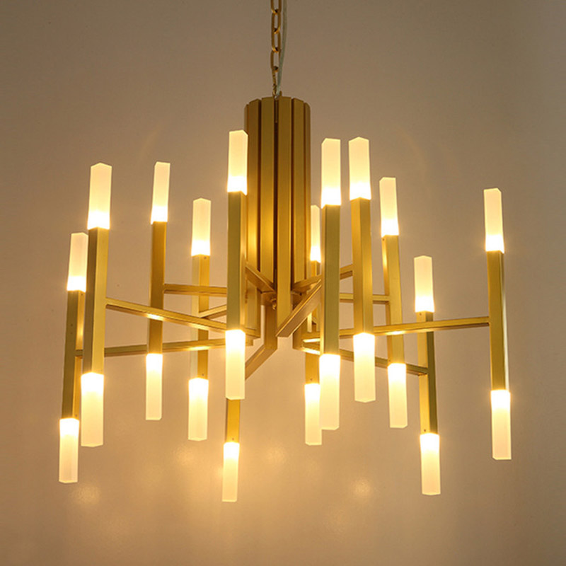 Nordic minimalist living room chandelier designer art villa double acrylic large chandeliers led lighting fixture led big lamps private villa living room chair retail