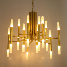 Nordic minimalist living room chandelier designer art villa double acrylic large chandeliers led lighting fixture led big lamps(China)
