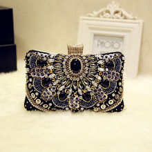 Angelatracy 2019 New Arrival Handmade Beading Metal Frame Diamond Vintage Messenger Bag Evening Party Women Day Clutches