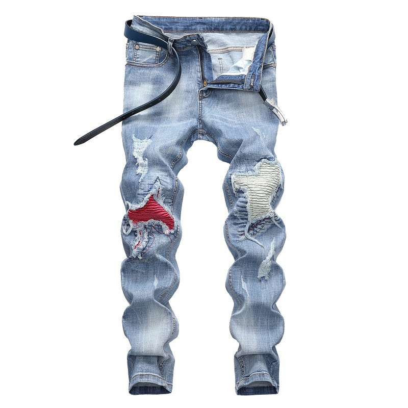 Newsosoo Fashion Men's Pleated Biker Jeans Hi Street Patchwork Motorcycle Denim Trousers Man Patched Moto Jeans Plus Size 28-42