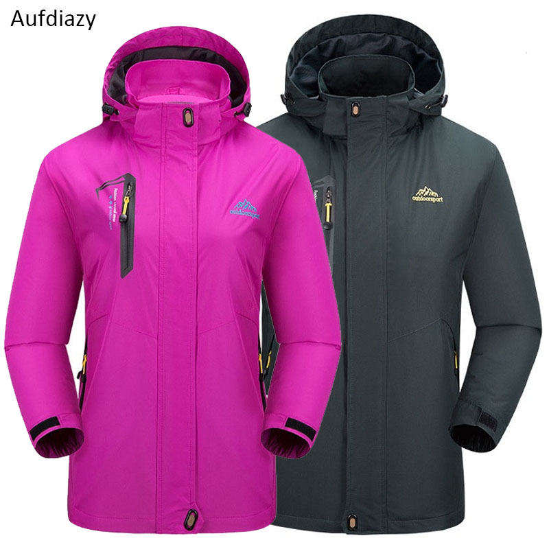 Aufdiazy Men Women Spring Autumn Windproof Waterproof Jacket Black Outdoor Sports Coat Hiking Climbing Male Female Jackets JM075