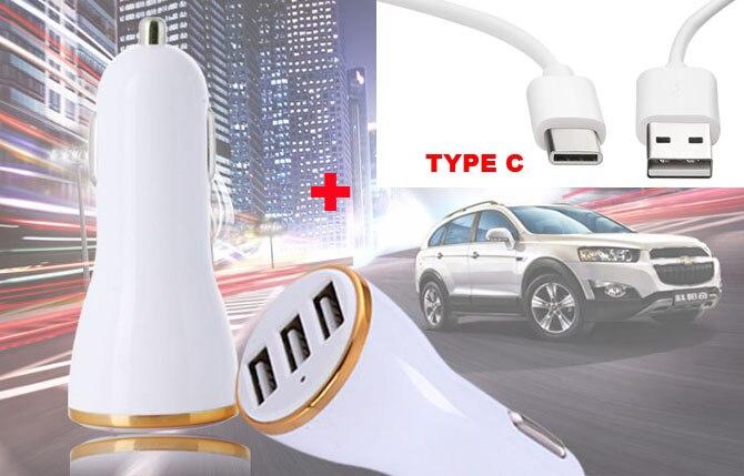 3 USB 1A 2.1A Travel Car <font><b>Charger</b></font>+Type C USB Cable For Nokia 8,ZTE nubia Z11 Z12 Z17 mini S,Blade V7 Max,<font><b>LeEco</b></font> Le Pro3 Elite