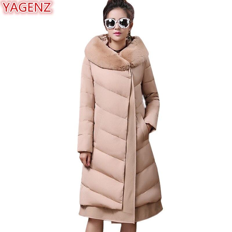 YAGENZ Haute qualité Femmes vêtements D'hiver Coton Veste Grande taille De Mode de Femmes Coton Manteau À Capuchon Longue section Garder au chaud 634