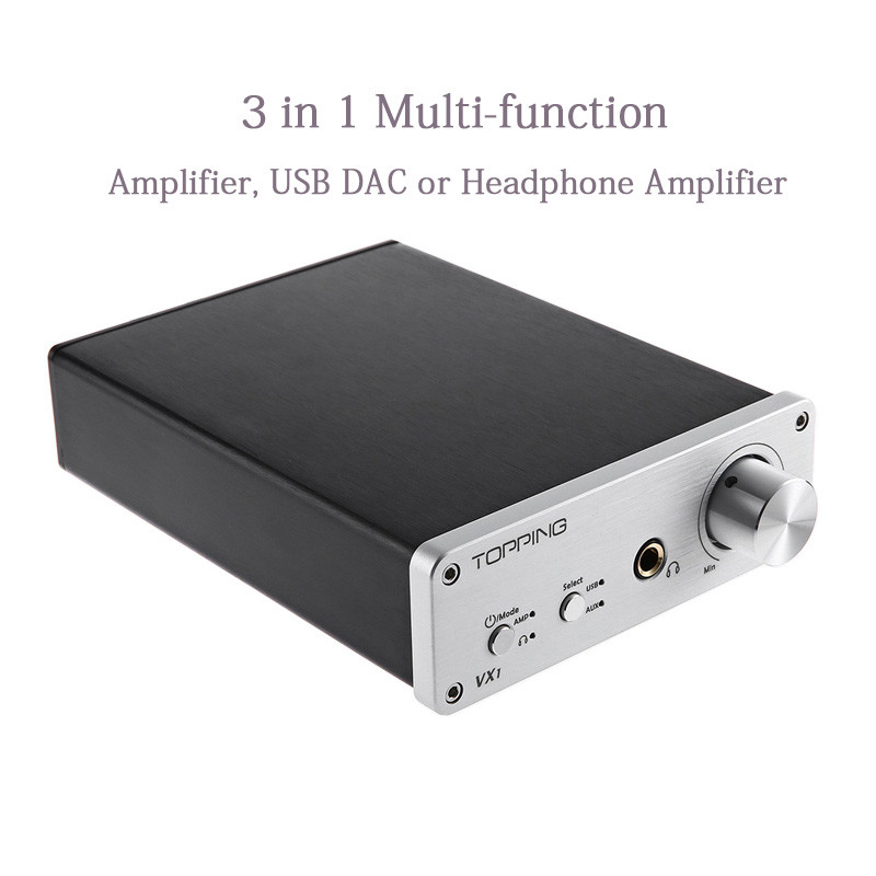 Amplifiers Original Topping VX1 Power Digital Amplifier 3 in 1 2*25W Headphone AMP Stereo HiFi Subwoofer USB DAC 24Bit/96KHz New topping vx3 amp hifi power stereo amplifier 35w 2 class d digital audio headphone wireless bluetooth 4 0