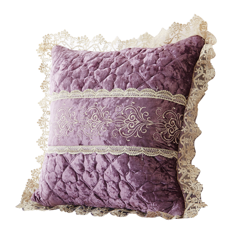ZHH High Quality European Style Cushion Cover with Lace Throw Pillowcase 45cmX45cm Pillow Case