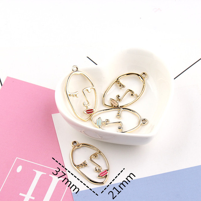 10PCS/Lot New style Alloy Drop Oil Gold Color Sexy Women Face Shape Floating Locket Charms DIY Jewelry Finding