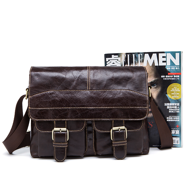 mva bolsa do homensageiro sacolas Main Material : Men Leather Vintage Genuine Leather