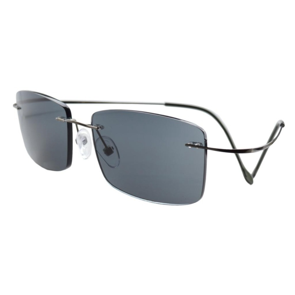 R1509 Grey lens Eyekepper Titanium Rimless Reading Sunglasses Sun Readers Men +0.5/0.75/1.0/1.25/1.5/1.75/2.0/2.25/2.5/2.75/3.0