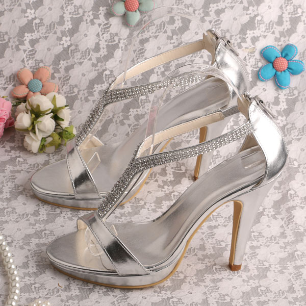 Wedopus Customized Wedding Shoes High Heels Crystal Sandals Silver PU Prom  Sandals d81554cdcb0e
