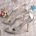 Wedopus Personalizado Sandálias de Casamento Sapatos de Salto Alto Sandálias de Cristal de Prata PU Prom