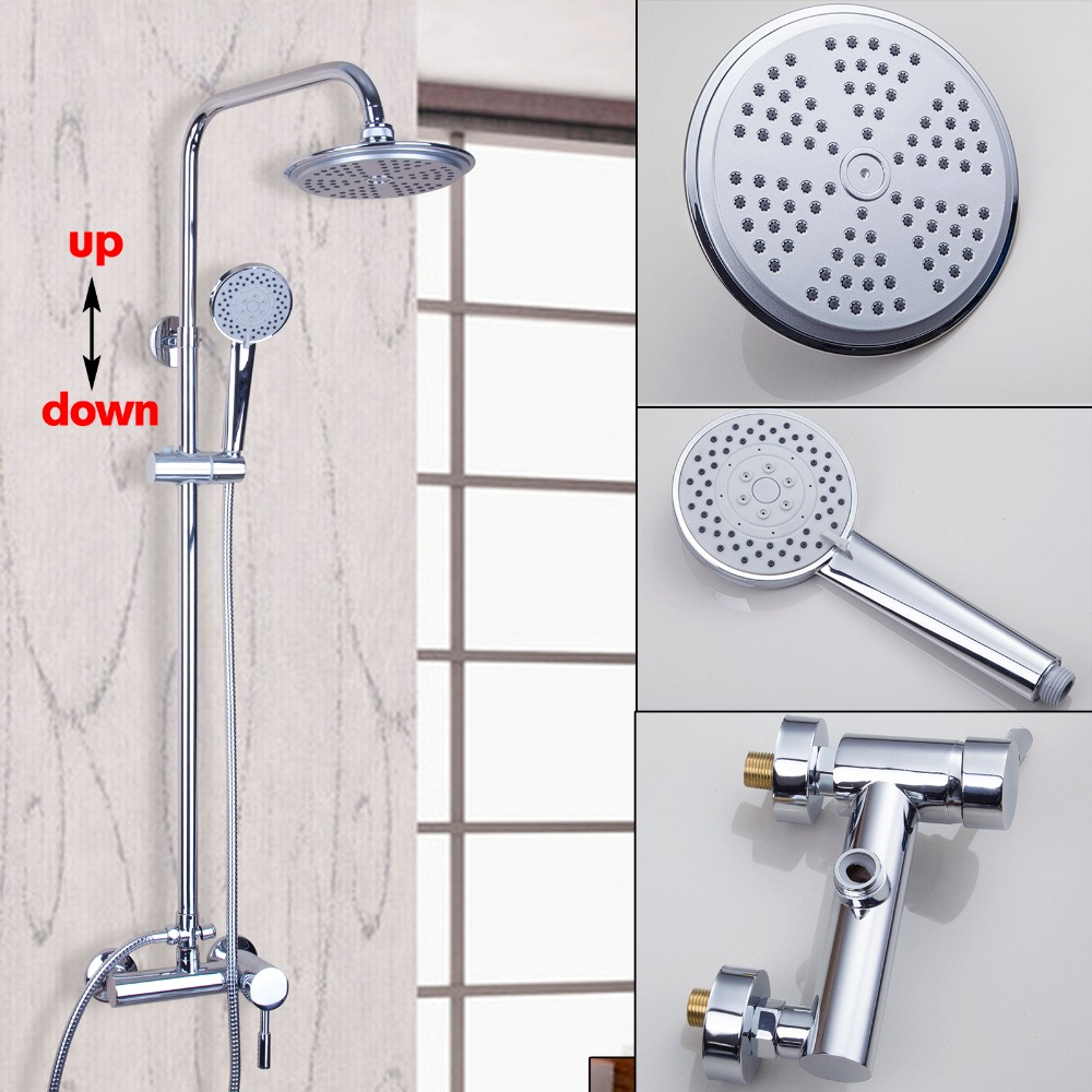 Luxury Polished Chrome Waterfall Bathroom Faucet Rain Shower Faucet & Hand Shower Wall Mounted Bathroom Faucet And Shower Set luxury led bathroom shower head faucet chrome brass rain waterfall shower set faucet wall mounted with abs hand shower