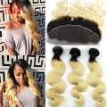 Malaysian Body Wave 1b 613 Bundles with Frontal Two Tone Ombre Blonde Human Weave Bundles with Ear to Ear Lace Frontal Closure