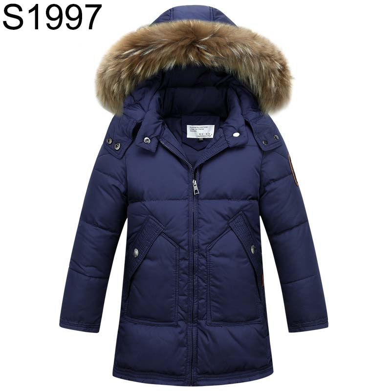 2017 New Winter Teenage Down Jackets Big Boys Natural Fur Collar Hooded Overcoats Children Thick Warm Long Down Coats Outerwears 2017 fashion teenage girl winter down jackets fur collar children coats warm thick kids outerwears for cold 30 degree jacket