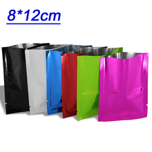 8*12cm Black/White/Purple/Blue Open Top Aluminum Foil Bags Heat Sealable Mylar Pouch Food Vacuum Storage Metal Packing