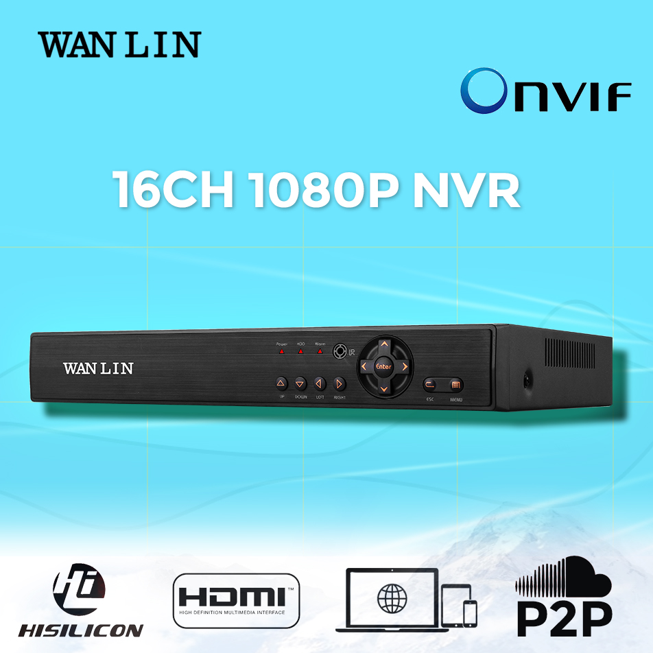 WANLIN 16CH 1080P NVR H.264 HDMI/VGA Network Video Recorder Support 2MP IP Camera P2P ONVIF 2SATA HDD Motion Detect support onvif 9ch 1 5u nvr 1080p hd with vga