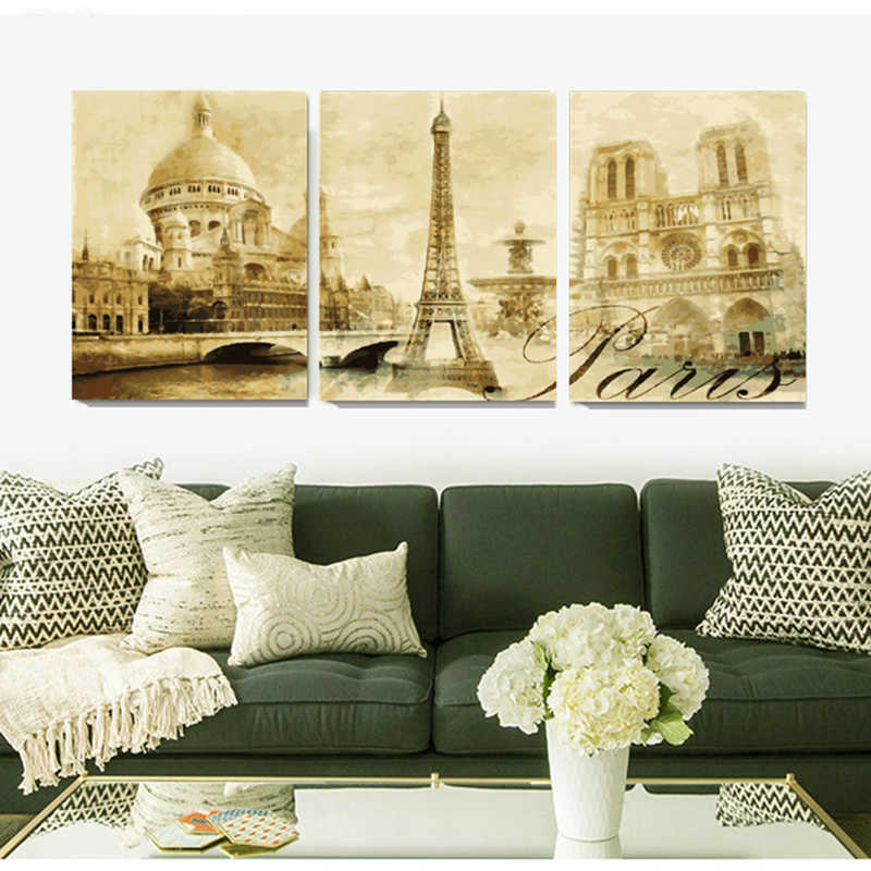 40X50CM home decor Hand painted canvas Triptych oil paintings wall pictures for living room castle Club painting by number