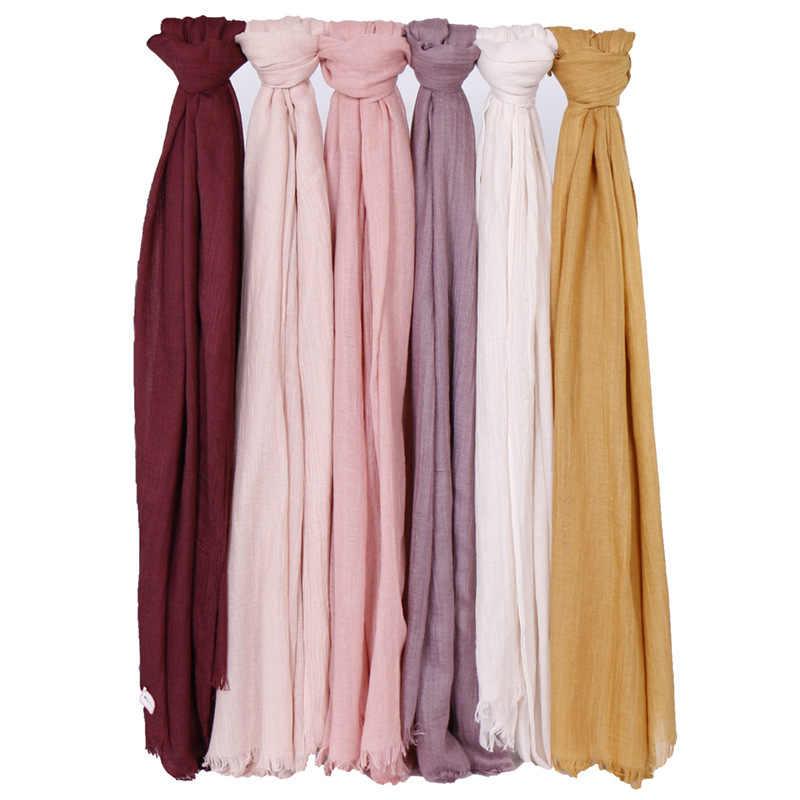 ฤดูใบไม้ผลิฤดูร้อน solid maxi มุสลิม Hijab ผ้าพันคอผ้าคลุมไหล่ผ้าพันคอธรรมดาผ้าฝ้ายนุ่ม Frayed breathable pashmina wraps headband 190x120 ซม.