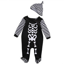 Baby Romper Clothing Newborn Infant Baby Boy Girl Kids Romper+Hat Black Gost Striped Costume Jumpsuit Clothes Outfit