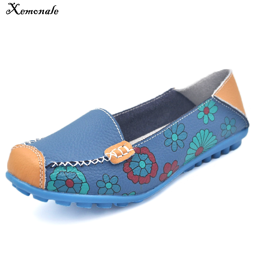 Xemonale Womens Casual Shose 2017 New Fashion Flower Print Genuine Leather Shoes Non-sli ...