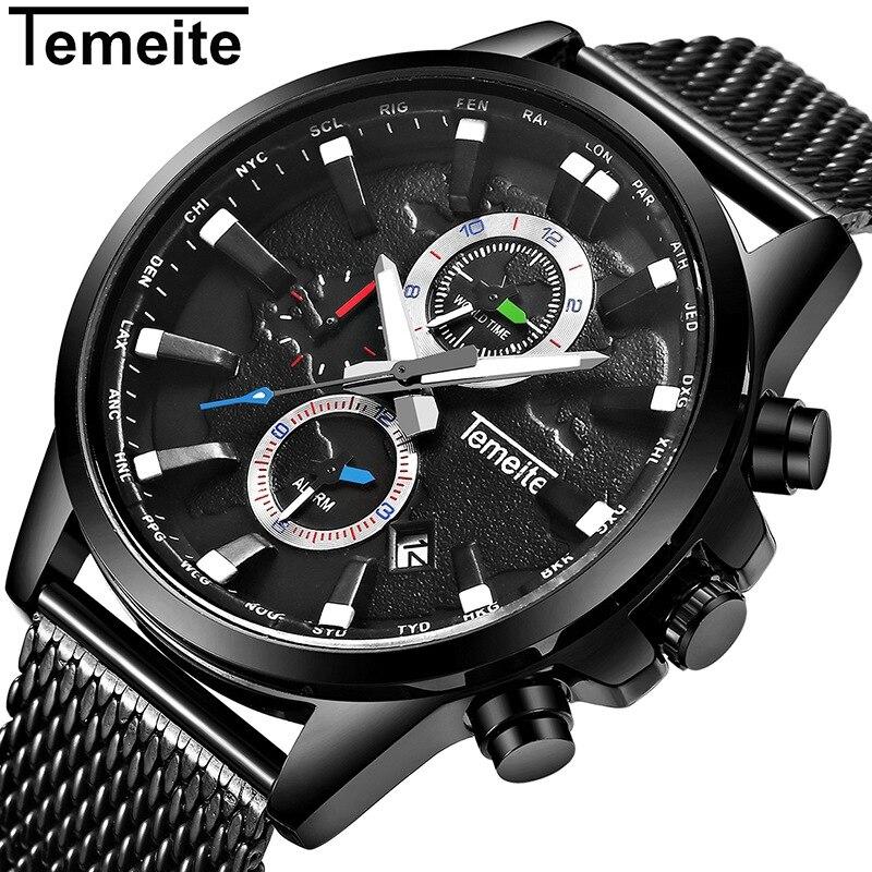 TEMEITE Original Mens Watches Top Brand Luxury Waterproof Quartz Watch Men Clock Date Mesh Strap Wristwatches Male Relogio