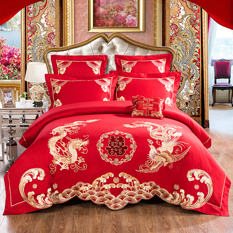 Red Egyptian Cotton Luxury Duvet cover Bedding set King size Queen Bed sheet set Embroidery Wedding Gift Bed set  Pillow shamsRed Egyptian Cotton Luxury Duvet cover Bedding set King size Queen Bed sheet set Embroidery Wedding Gift Bed set  Pillow shams