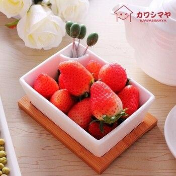 Japan Style Creative White Porcelain ceramic tableware salad bowl fruit fork 4 bamboo tray 1 fuit