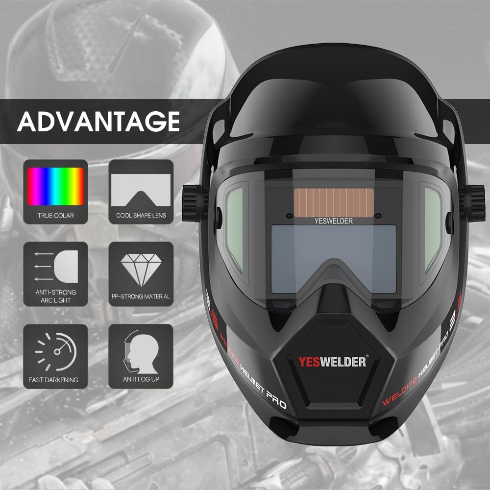 YESWELDER Anti Fog Up True Color Solar Powered Welding Helmet Auto Darkening Weld Mask with Side