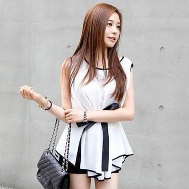 35d387661a431d 2015 Summer Chiffon Blouse Elegant Women Slim Fit White Shirts Blusas Mujer  Casual Tops With Belt Free Shipping 64010