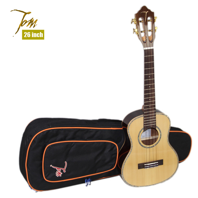 26 inch  Tom TUT-680M Tenor Ukulele with Imported Strings and Ukulele Bag 12mm waterproof soprano concert ukulele bag case backpack 23 24 26 inch ukelele beige mini guitar accessories gig pu leather