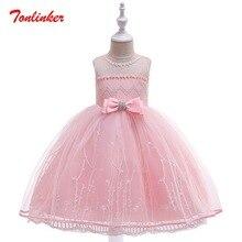 Girls Princess Embroidery flower Bow-Knot Diamond Pink Dress Prom Party Dresses Children Theme Wedding Party Clothes цена в Москве и Питере