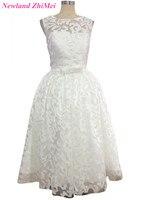 Fashionable Lace Wedding Dress Women Ankle Length Bridal Gown Vestido De Noiva 2015