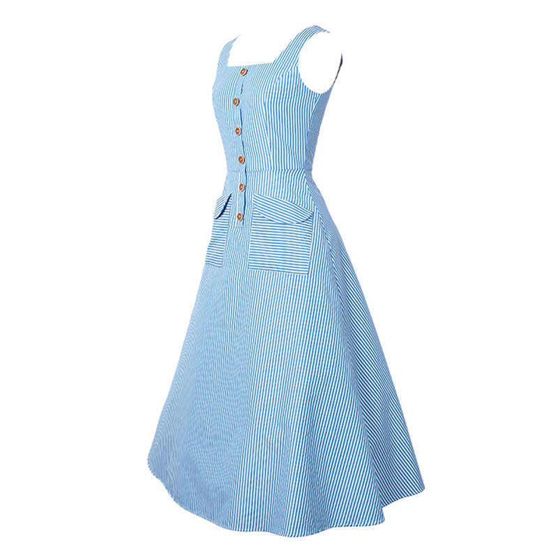 a3218a76ecf ... Sisjuly Vintage 1950s Dresses Summer Light Blue Women Striped Dress  Slash Neck Mid Calf Rockabilly Retro ...