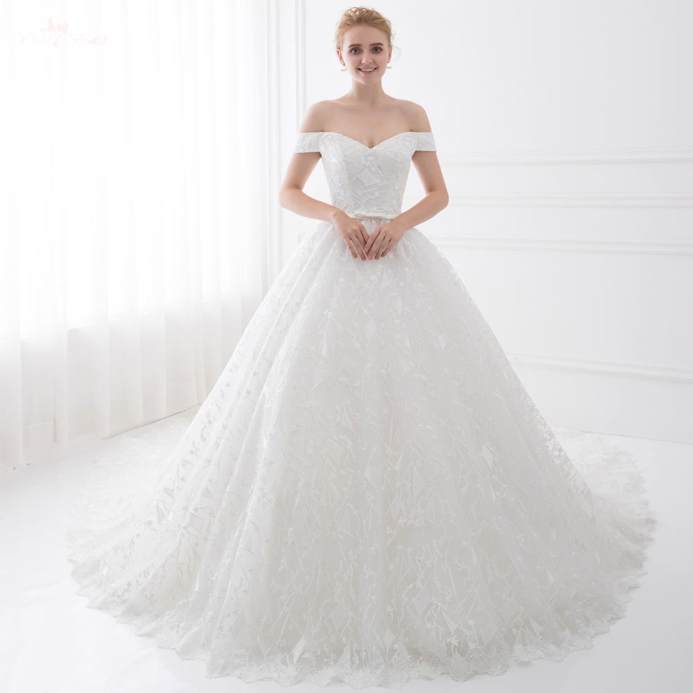 TW0206 Real Job Off Shoulder Ball Gown With Belt Newest Wedding Dresses Cathedral Train Wedding Dresses