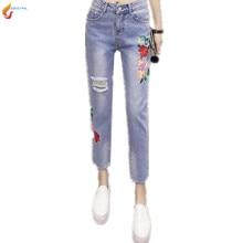 Женские брюки Весна 2017 Новый Корейский Моды Вышивка Свободные Отверстия джинсовые Девять брюки Тонкий Весна Лето Женщины брюки G136 JQNZHNL