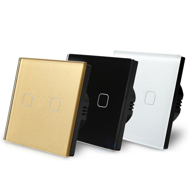 Newly Eu Standard Tempered Glass Panel Touch Switch 220v 2 Gang 2 Way Light Wall Switch With Led