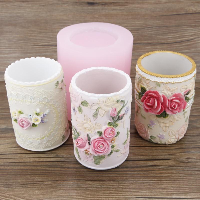 Silicone moule fleur porte-Stylo 3d moules de ciment de gypse résine argile bricolage artisanat vase pot de fleurs moules