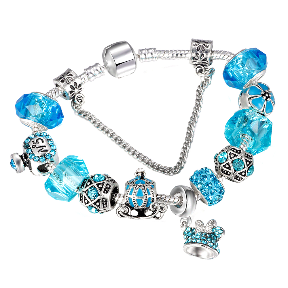 Fashion Blue Crystal Minnie Head Charm Pandora Bracelets & Bangle for Women Pumpkin Car  ...