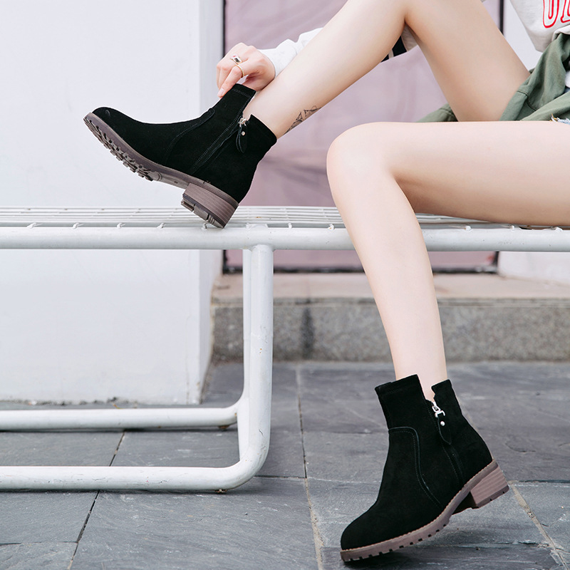 Jookrrix Autumn Winter Lady Boots Suede Fashion Zipper Black Ankle Boots Genuine Leather Shoes Women Med Heel Warm Martin Boots