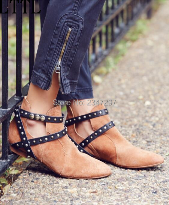 2016 newest side cut out women ankle font b boots b font cross strap rivets pointed